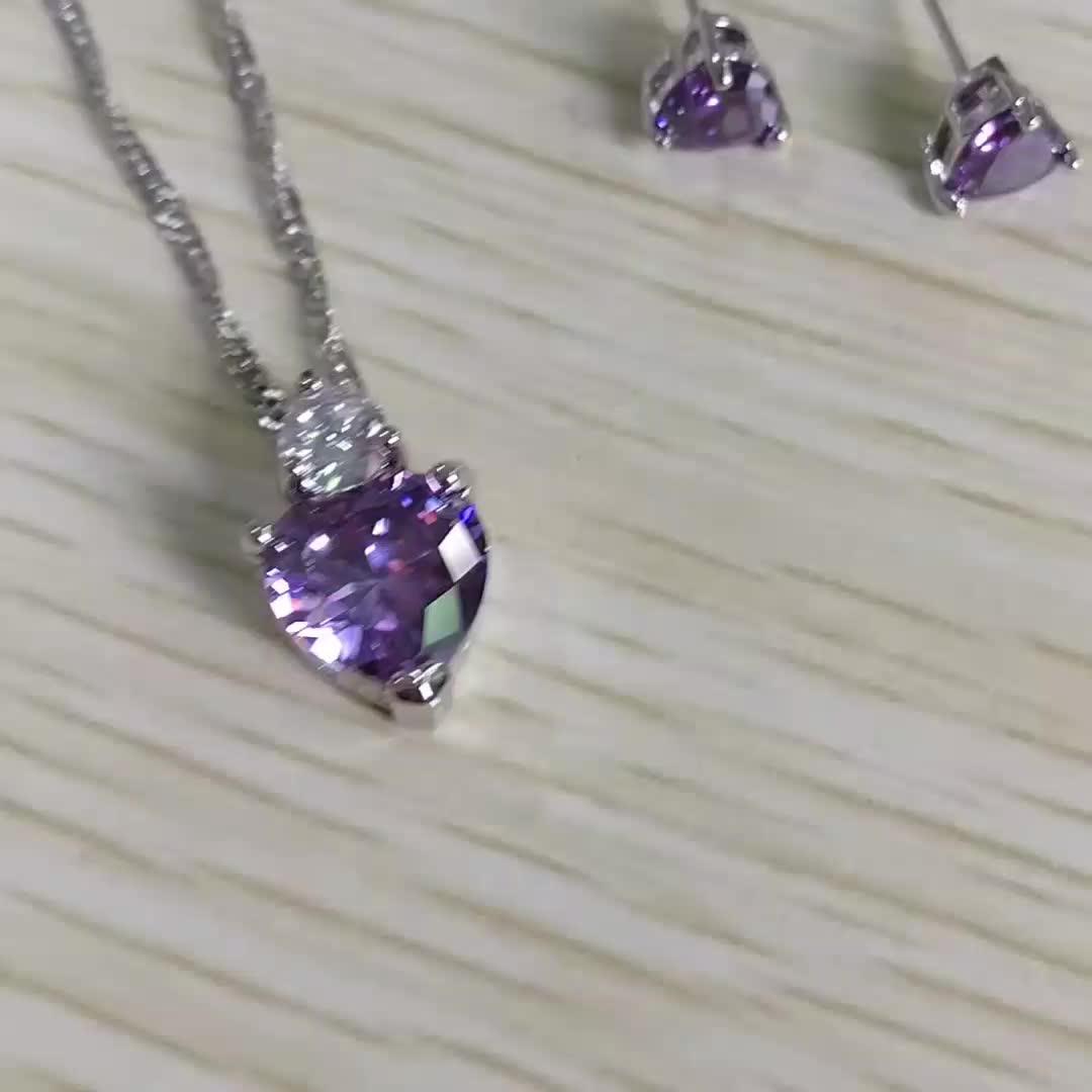 Fashion  Purple White Red Gemstone Heart Zircon Necklace Earrings Jewelry Set For Women