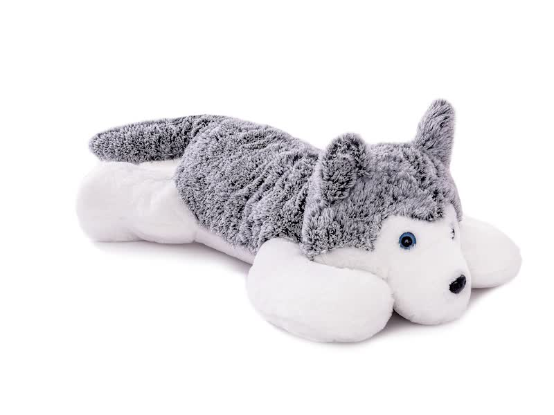 2019 popular custom made Long hair brown husky plush dog toy for kids