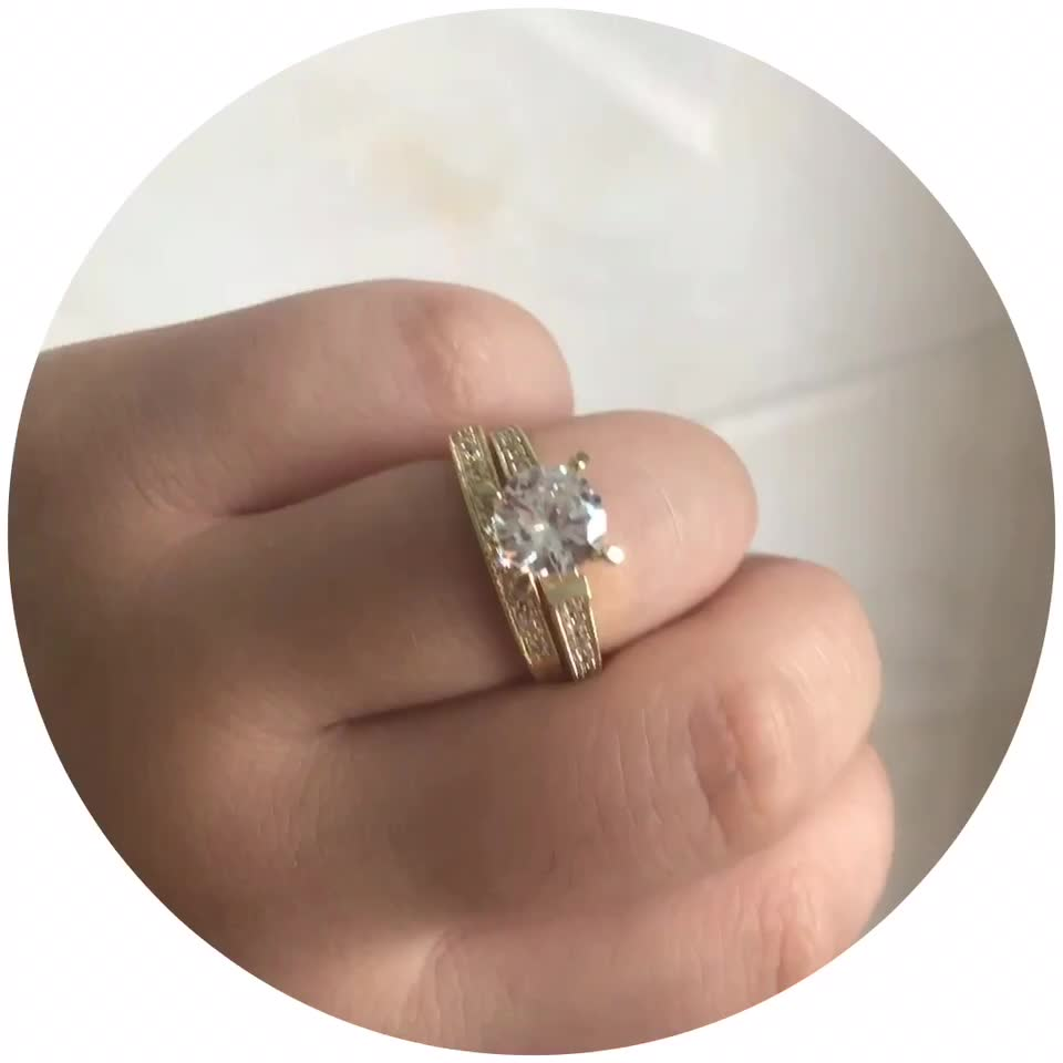 Fashion Latest Designs Gold Plated CZ Wedding Rings for Women & Men's New Model Promise Jewelry