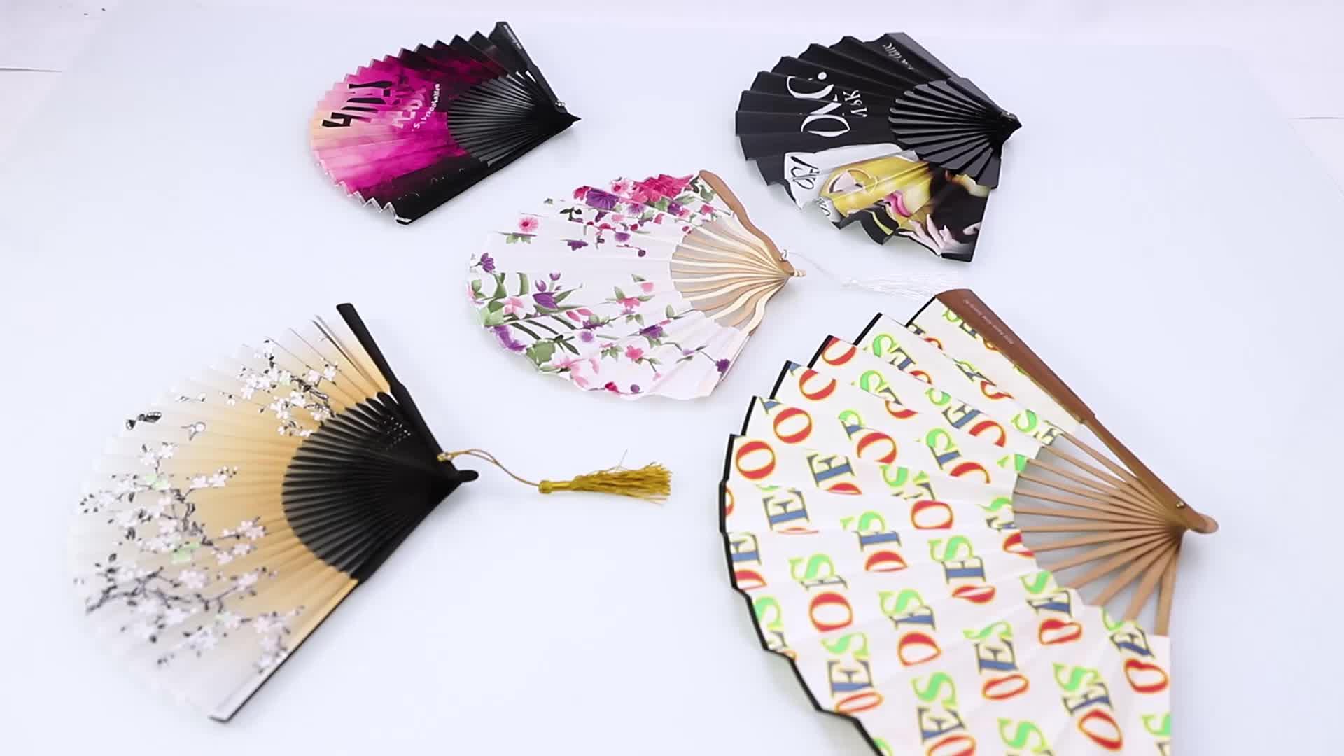 Custom Chinese  Printed Bamboo Hand Fan For Wedding