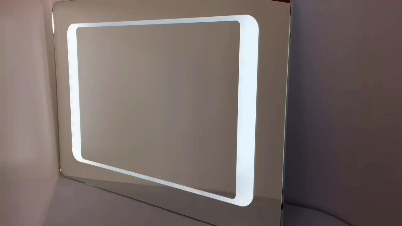 Dimmable LED iluminado espelho retangular banheiro espelho moderno parede com dimmer e luzes Montado na parede levou espelho de vaidade de maquiagem