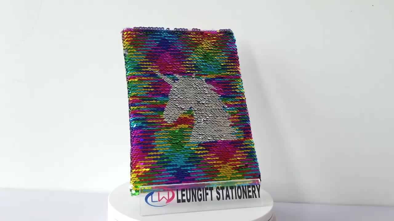 Nuovo stile personalizzato bling bling Argento Unicorn Multi colore reversibile paillettes notebook piccolo MOQ accettare