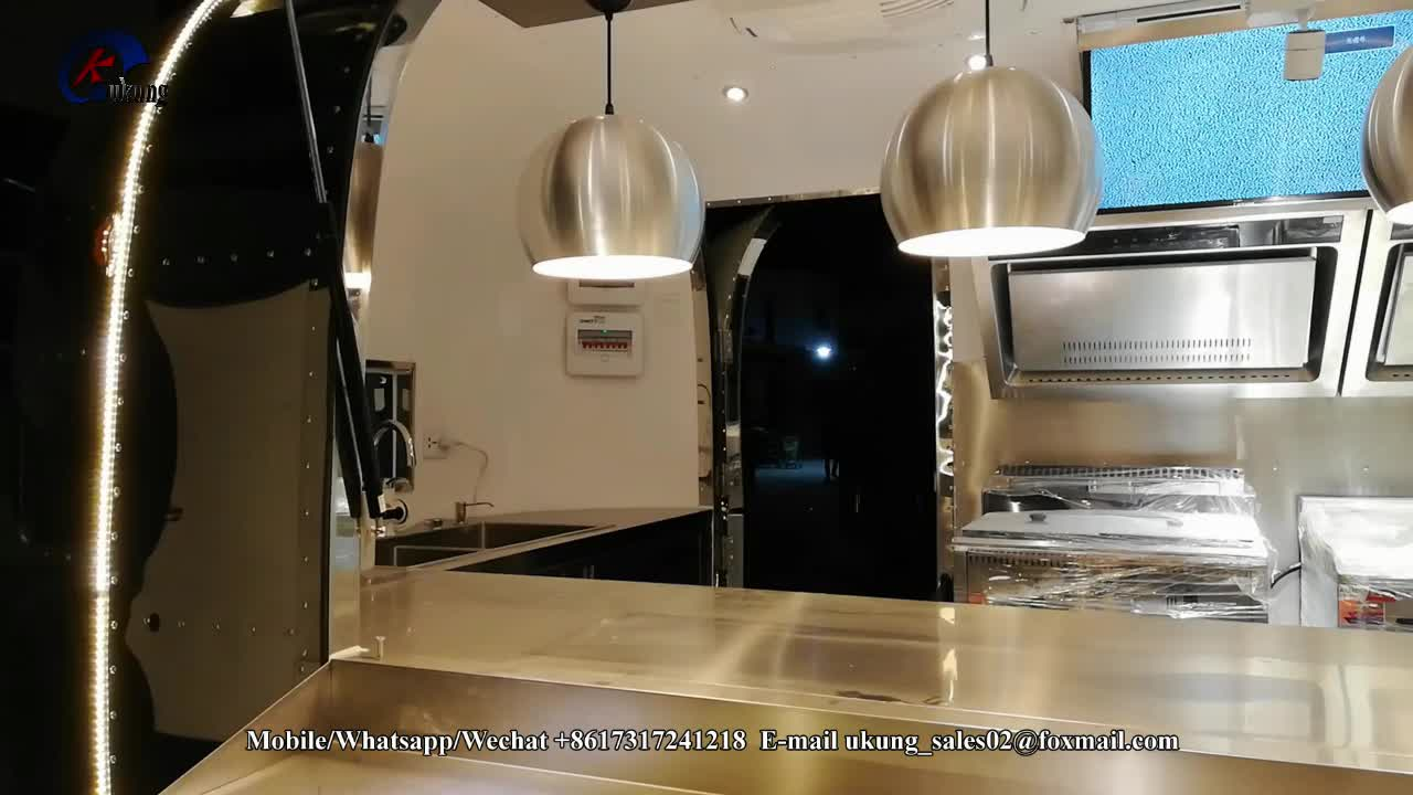 UKUNG updated luxury Airstream trailer with screens, mobile stainless steel food truck with kitchen appliances