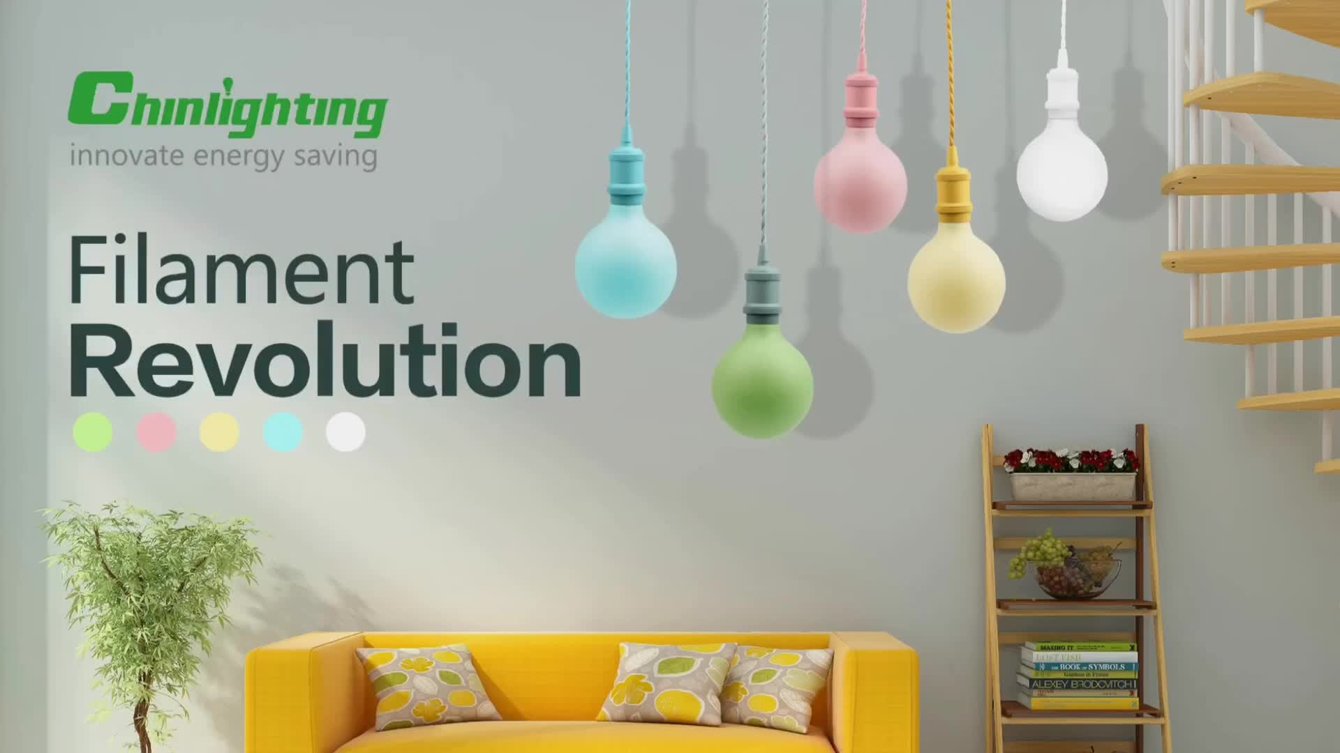 Pendant lamp with Macarons color led filament bulbs dimmable led
