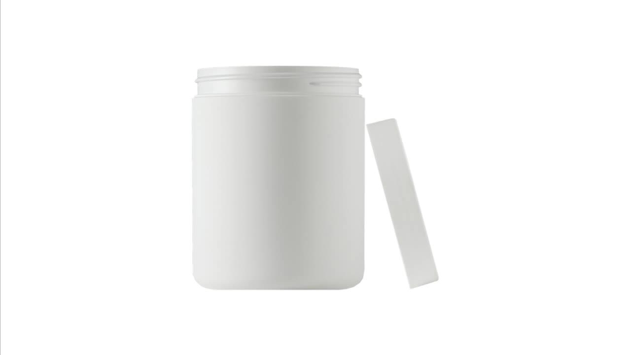 32 unzen HDPE black soft touch lebensmittel ergänzungen verpackung kunststoff kanister mit deckel