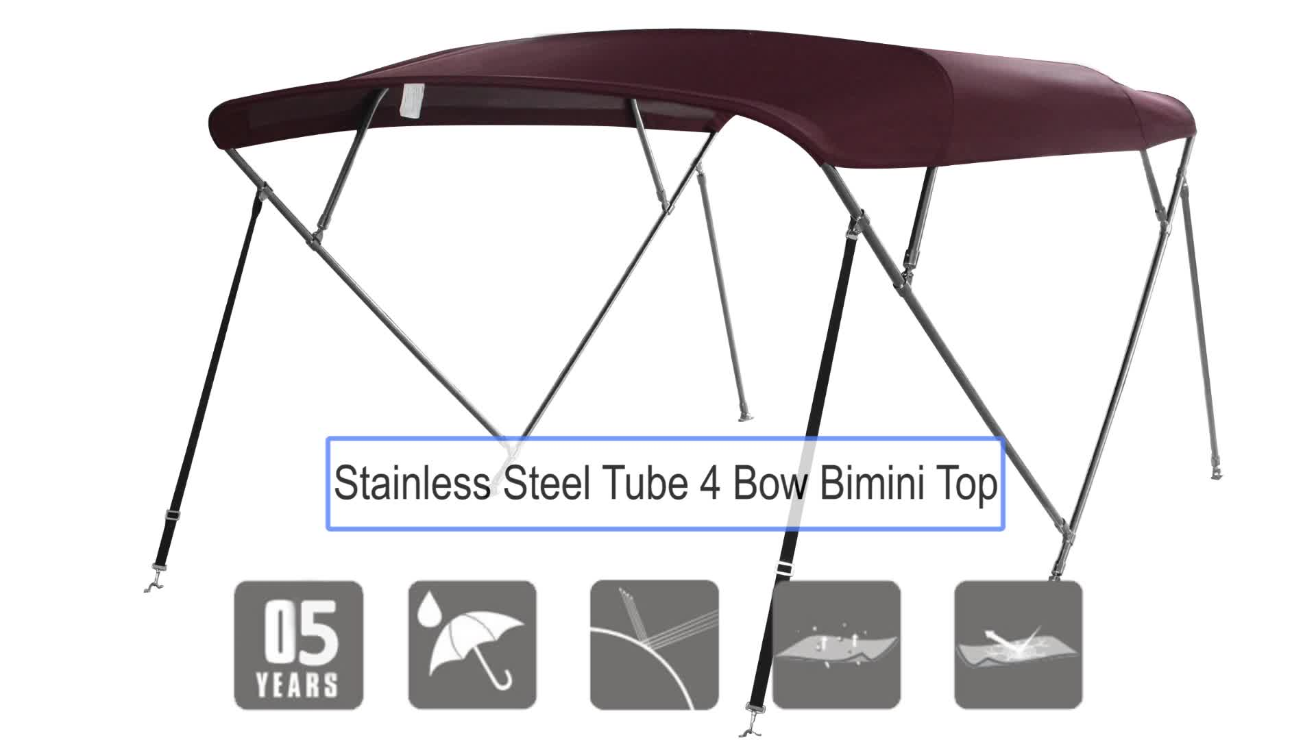 2 Bow Stainless Steel round frame pontoon boat tower tent hardware pontoon boat bimini top with tent