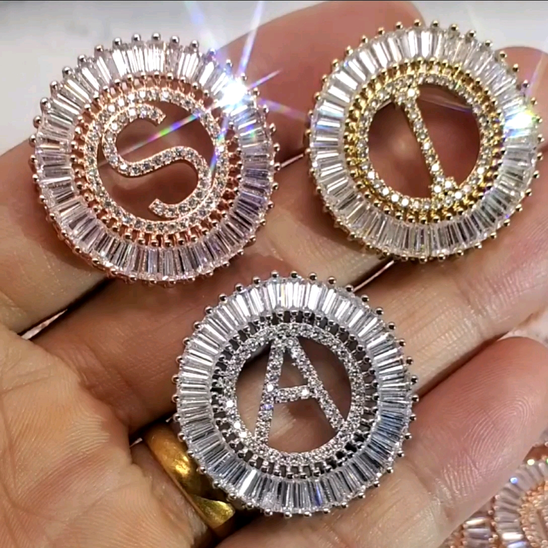 NZ1003 Weiß Zirkonia Diamant 26 Alphabet Brief Charme Anhänger Kette Halsketten A-Z Initial schmuck für Frauen