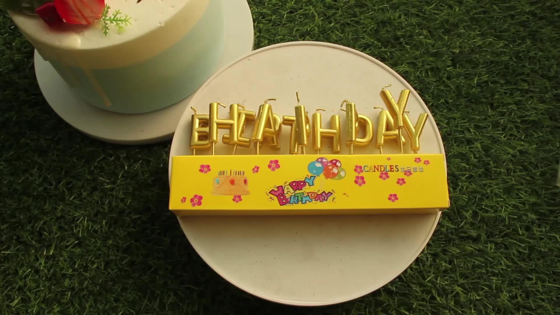 Nuova Vendita Calda lettere candele con il buon compleanno di disegno