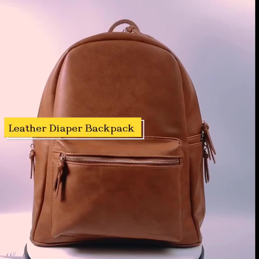 Unisex Maternity Leather Diaper Backpack Bag with Adjustable Shoulder Straps