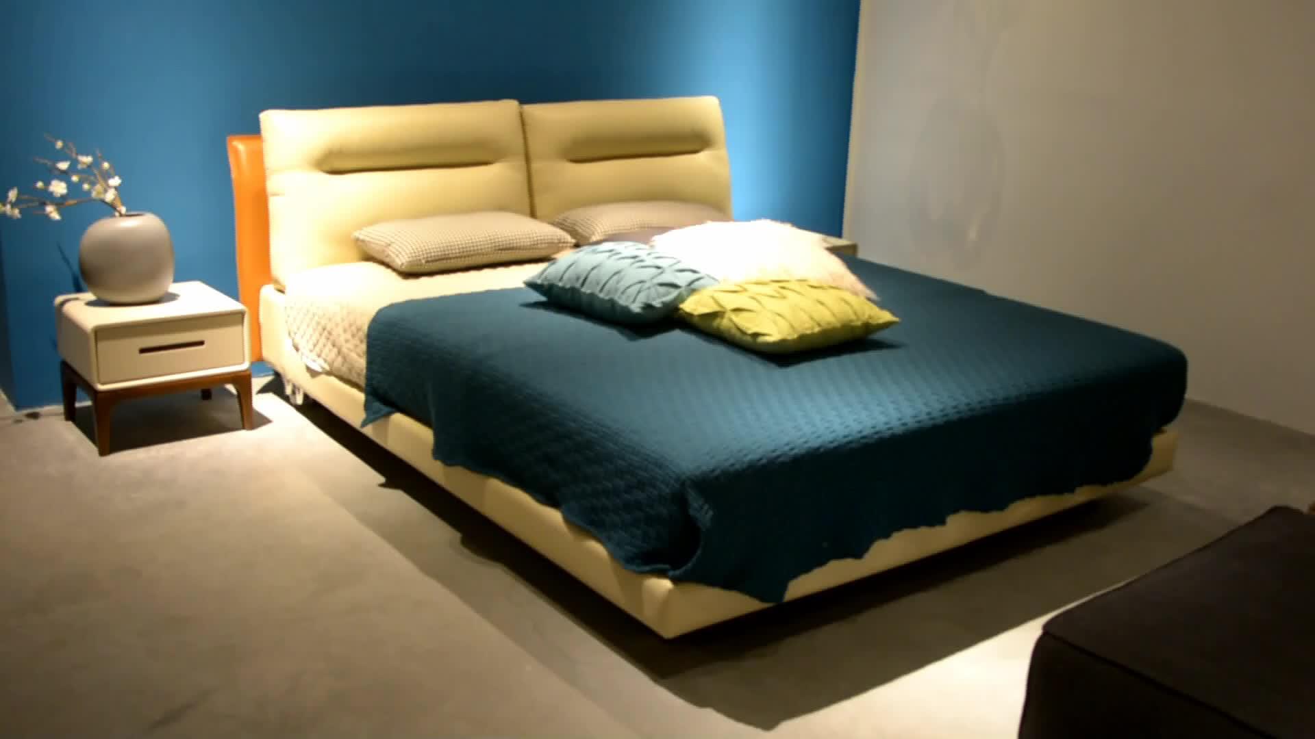 Alibaba furniture bedroom modern bed design leather bed