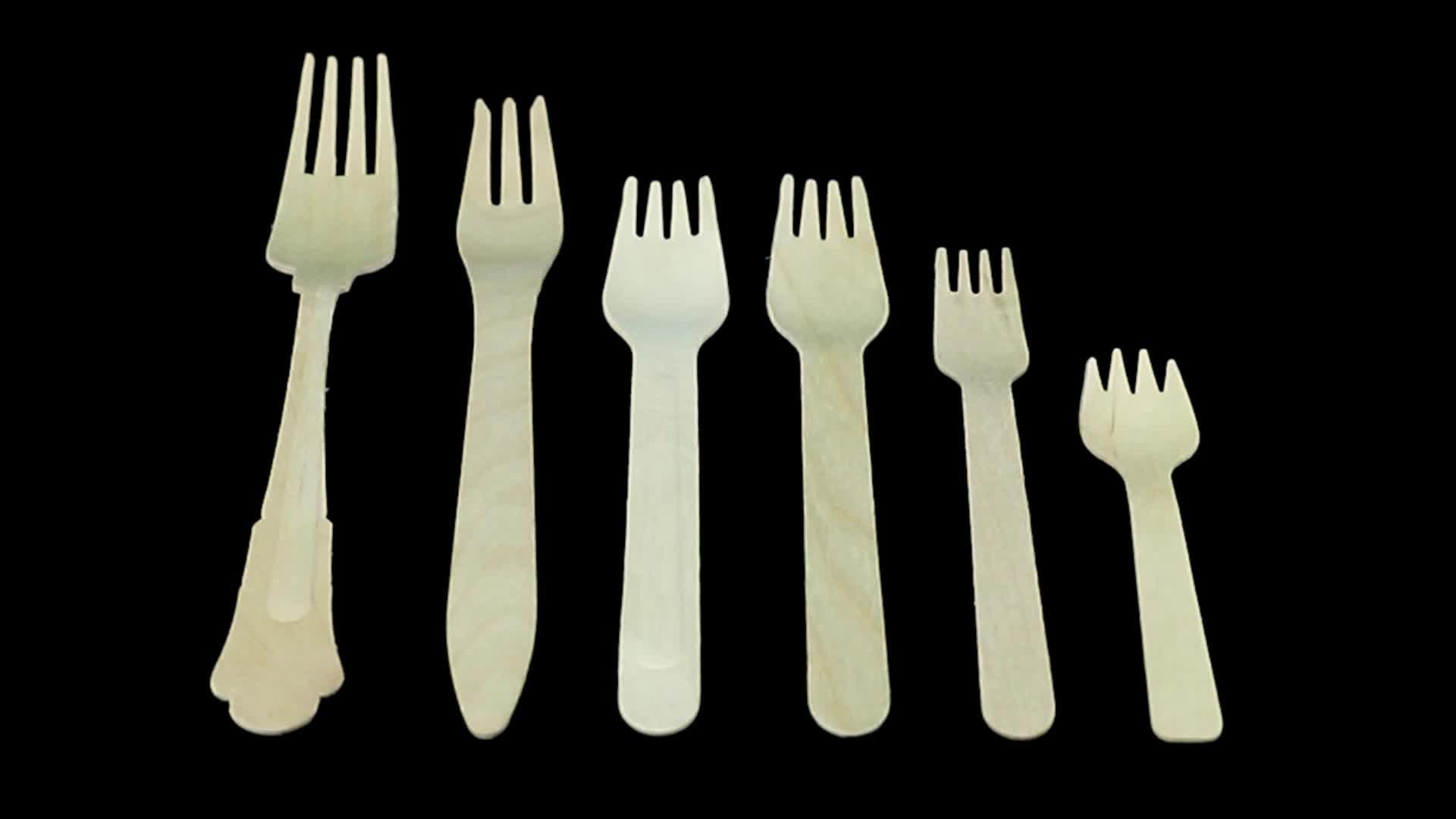 Food Grade disposable wood cutlery set knife fork spoon in bulk birch wooden spoon