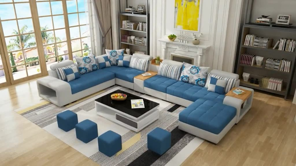 Modern Style Fabric Sectional Sofa Cum Bed Couch Living Room Sofas Set Home Furnture Luxury u shaped Corner sofa set 7 seater