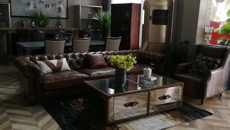 La de cuero real chesterfield juegos de sofá chesterfield sofá botones vintage de sala de estar de cuero sofá inicio sofá