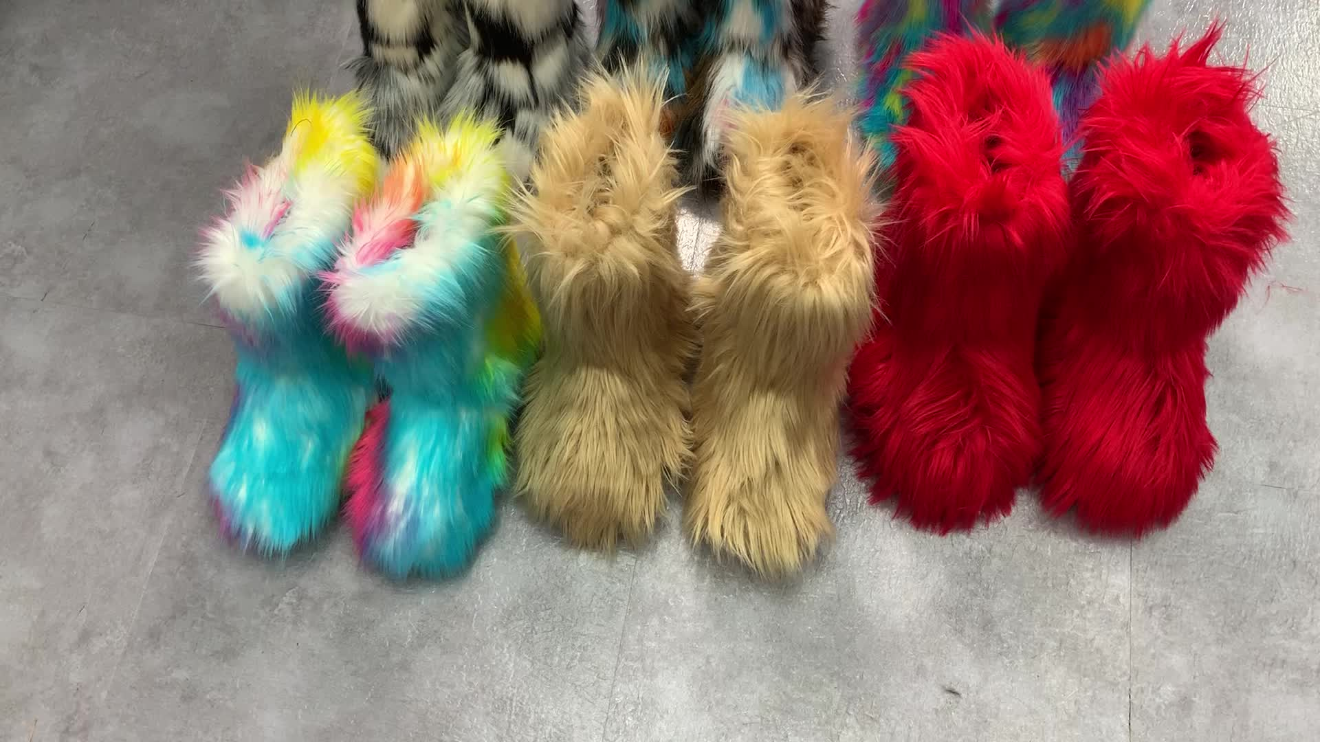 wholesale women real faux fluffy fur boots ladies high winter warm snow boots colorful plush casual winter shoes