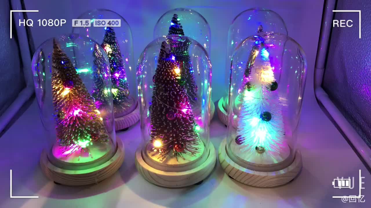 Christmas Tree LED Night Light Desktop Ornament with Glass Cover Festive Decoration Christmas Gifts New Year's Christmas Tree