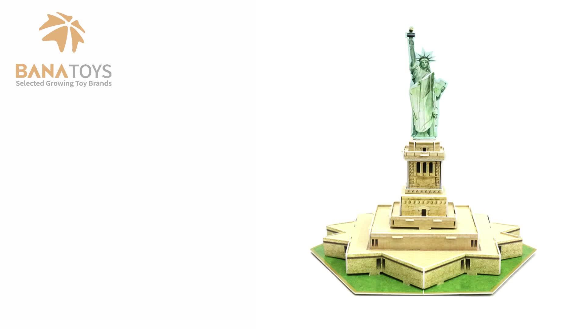 Pendidikan Bangunan Terkenal Miniatur Patung Liberty Kertas Jigsaw 3D Teka-teki untuk Anak-anak