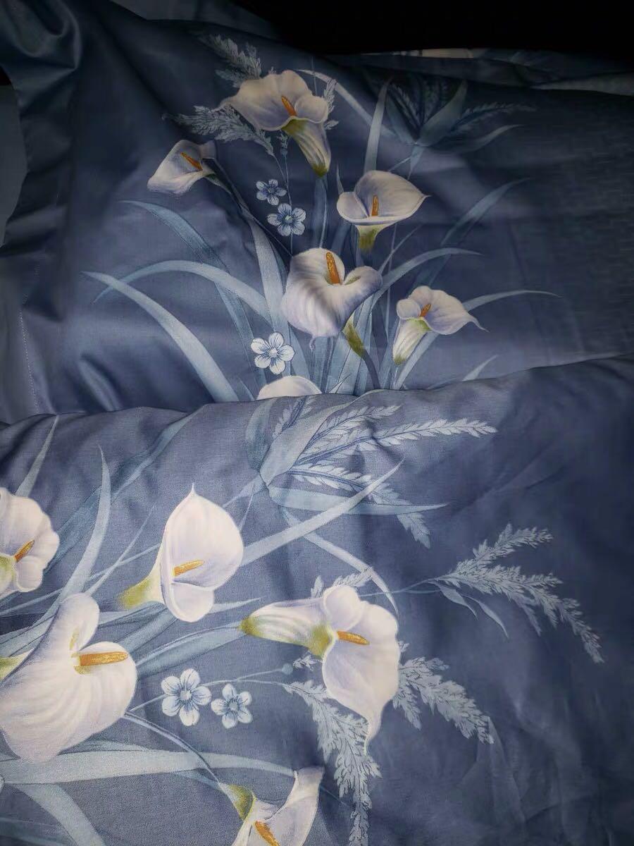 水星家纺全棉贡缎印花四件套