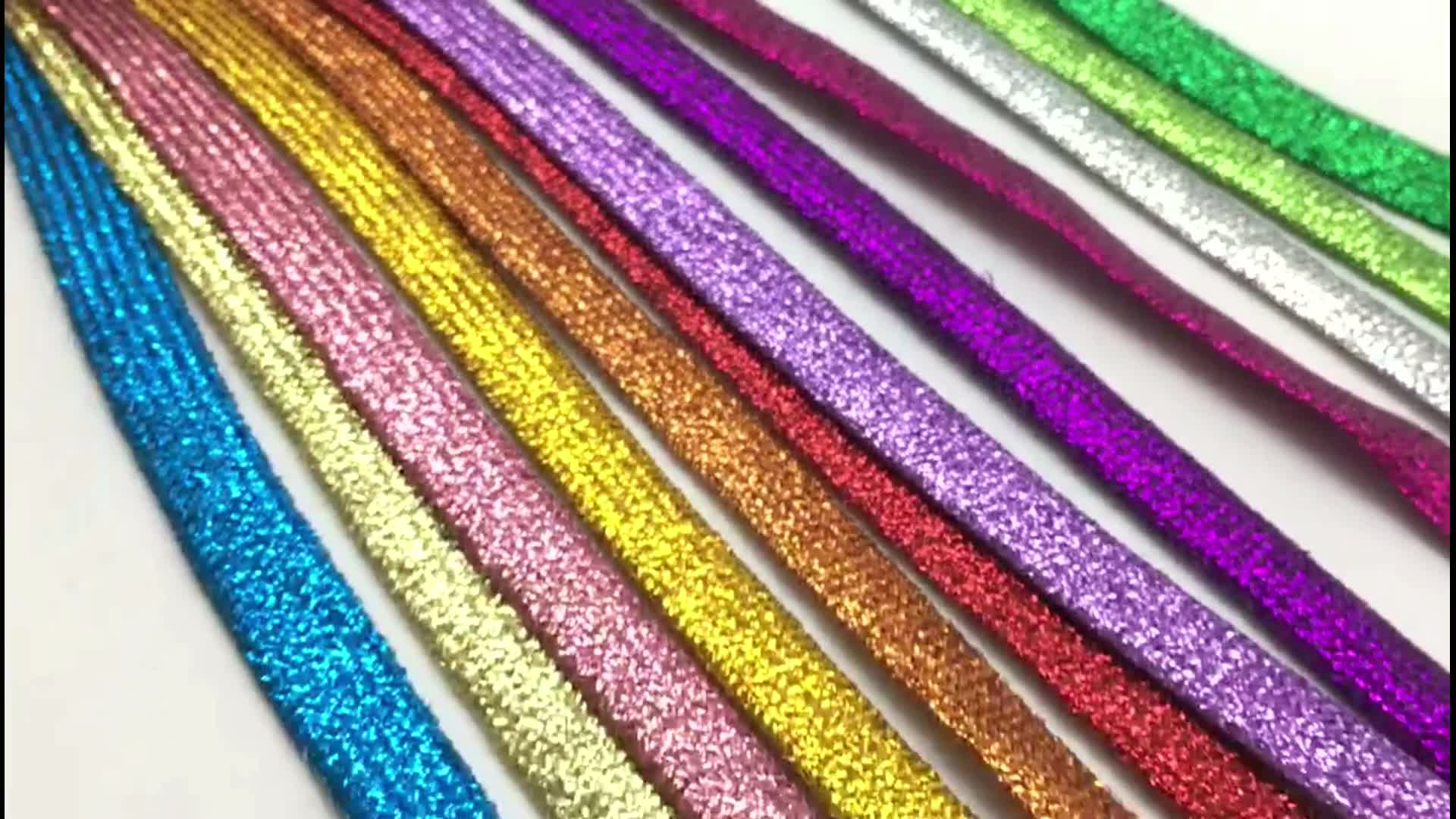 Promotional Custom Fancy Rainbow Color Glitter Sneaker Shoe Laces Bulk Sale With Customized Logo Package