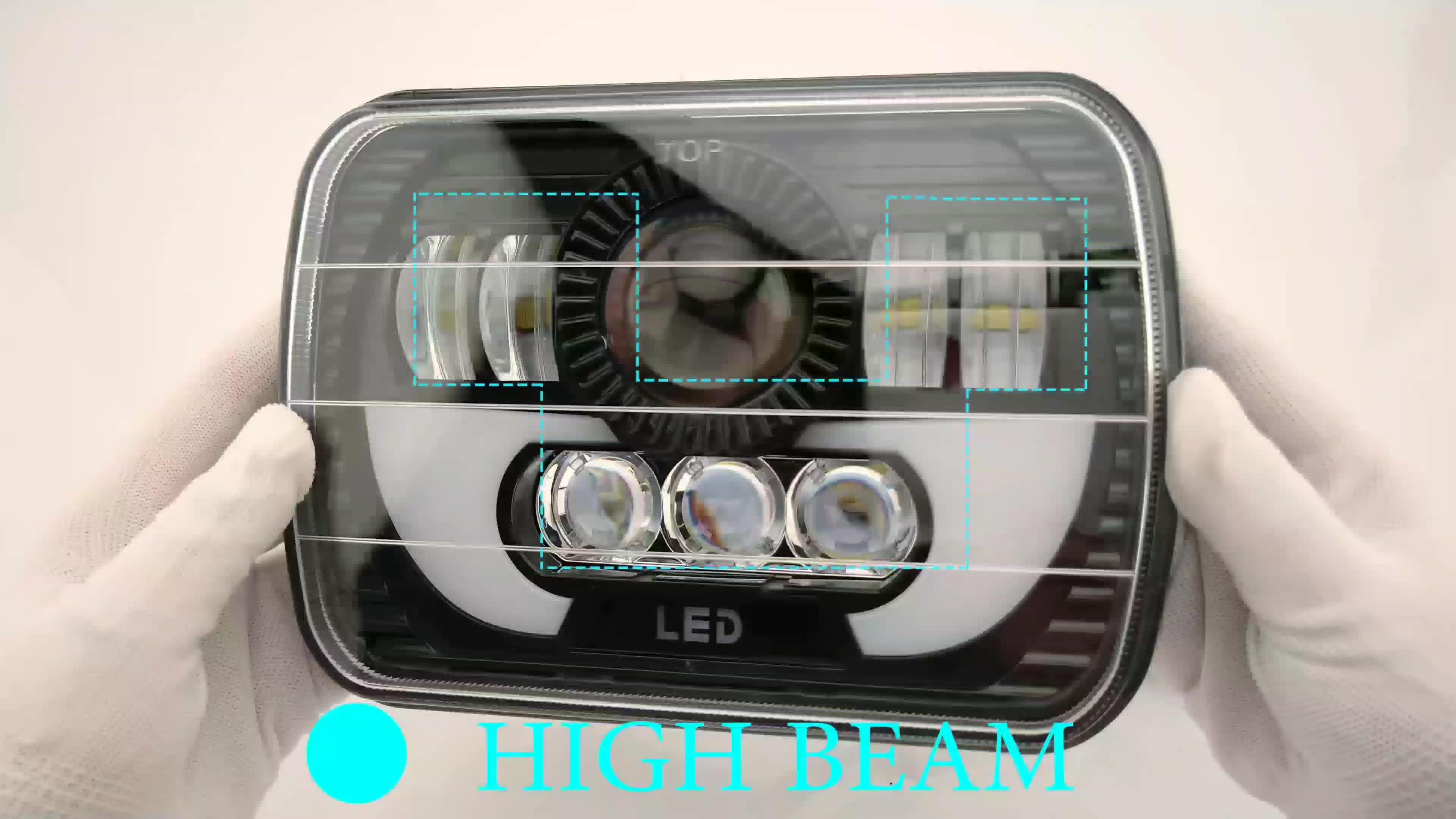 Tinggi Rendah Balok Sudut Mata Mobil Posisi Lampu 55W Suaare 5X7 Inci 4X4 Lampu LED