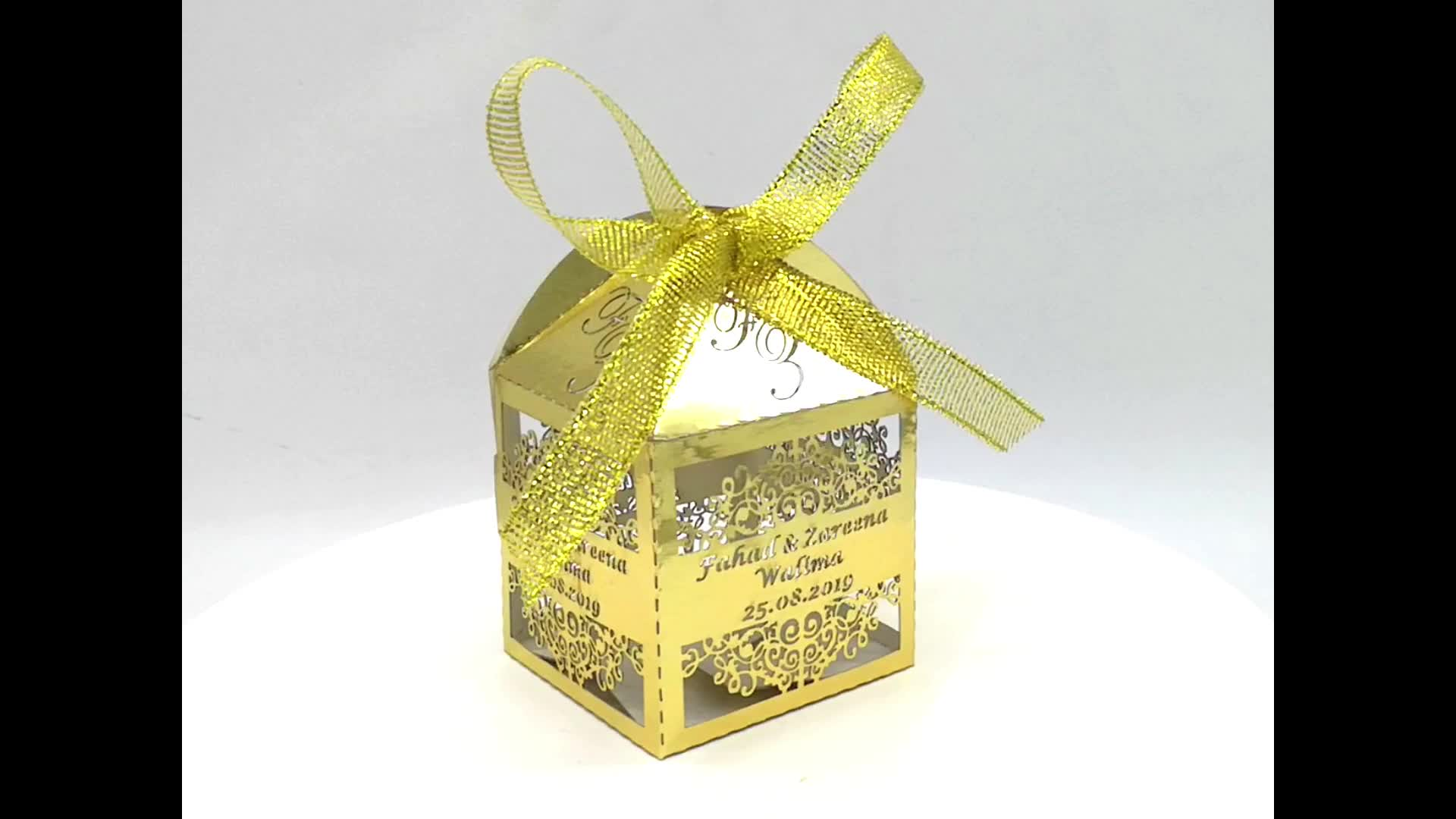 Wholesales कस्टम लक्जरी लेजर कट धातु कागज शादी कैंडी उपहार एहसान बक्से