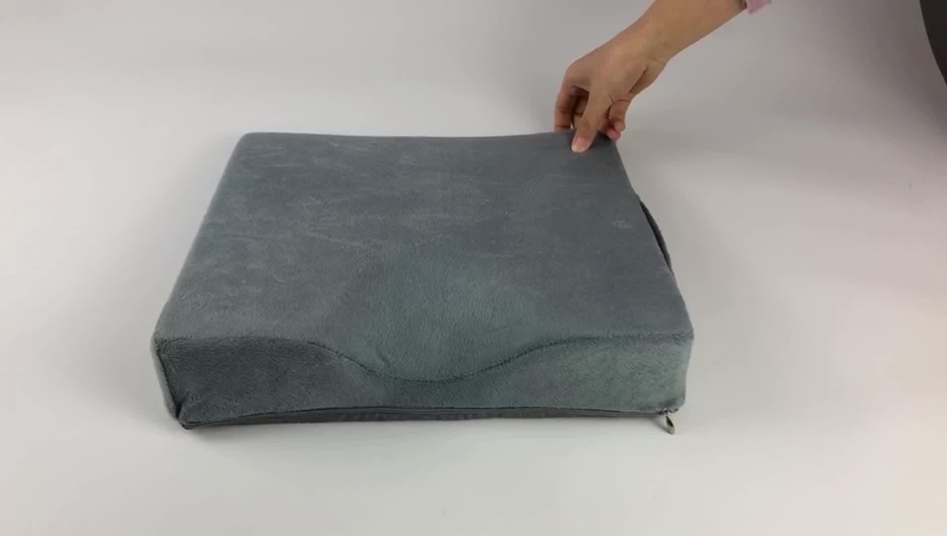 Memory Foam Orthopedic Coccyx Wedge Seat Cushion for Automobile with Non Slip Bottom Keep Stanble and Secure