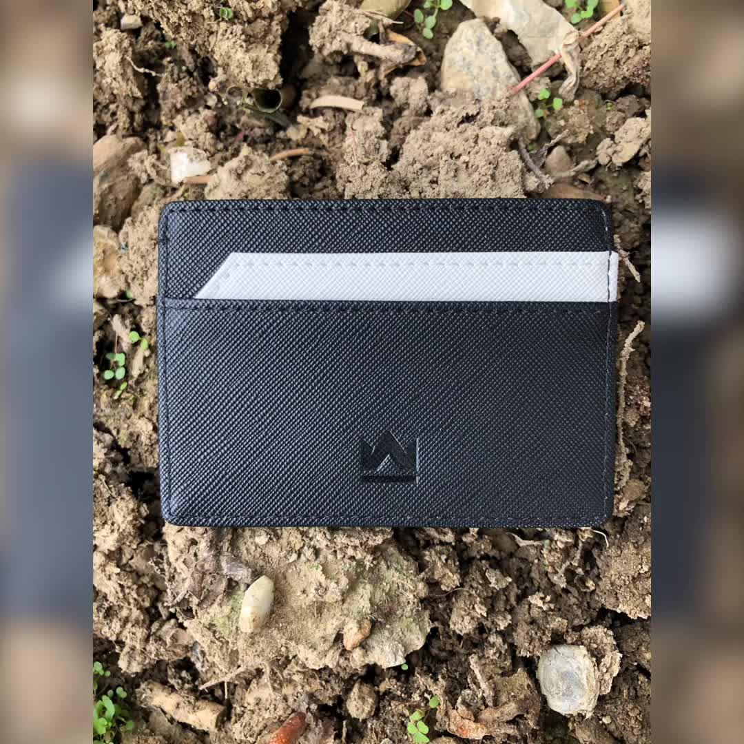 신용 카드 홀더 Saffiano PU RFID 슬림 ID 카드 홀더 지갑
