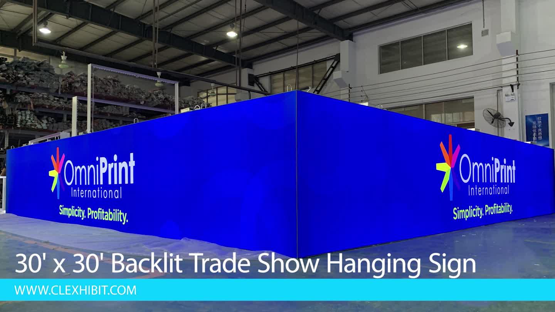 SEG System LED Backlit Display Hanging Sign for Trade Show