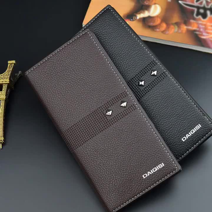 Men's wallet long business youth multi card large capacity thin  fold soft wallet rivet Wallet