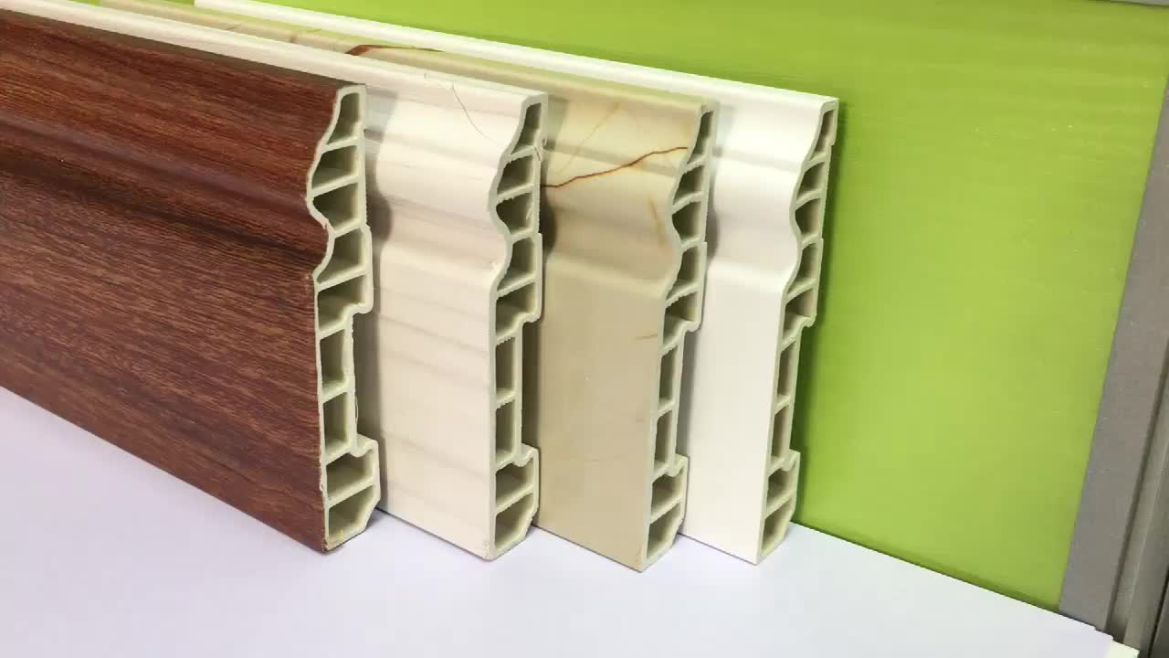 100mm Floor Baseboard PVC Cover Skirting Board Manufacture Plastic Baseboards Polyurethane Skirting Board