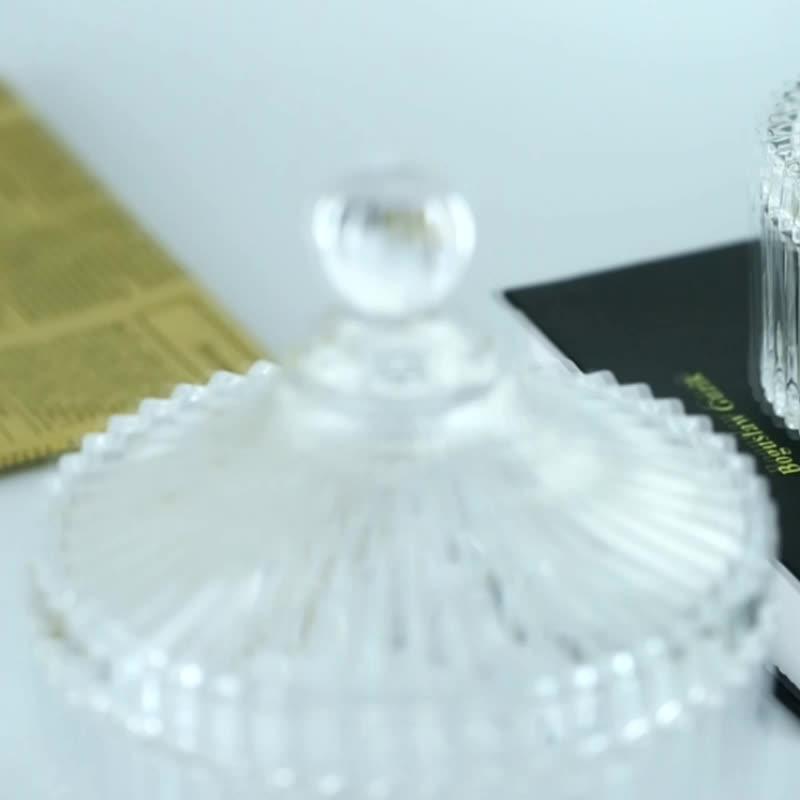 Kustom Kristal Rose Emas Kaca Candlejar dengan Tutup