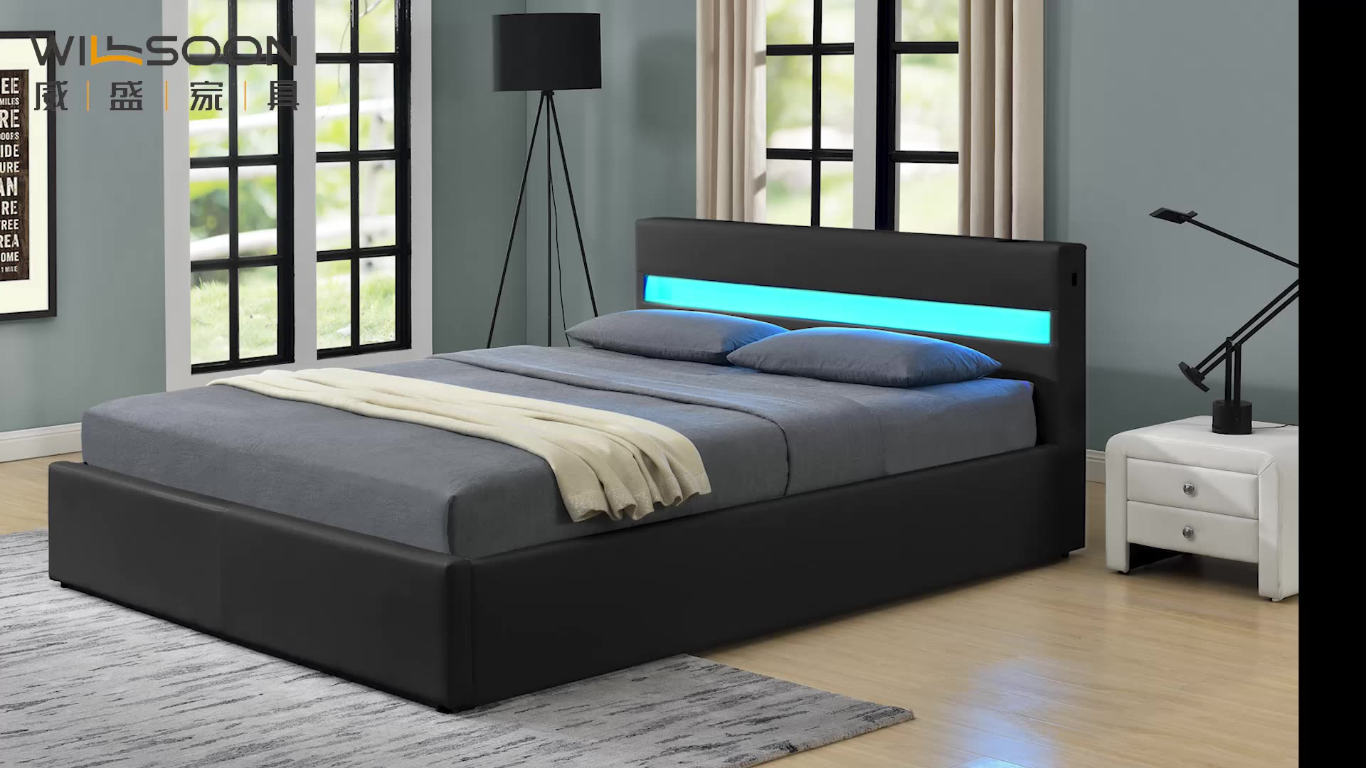 upholstery PU leather storage gas lift bed with Bluetooth Speaker and storage