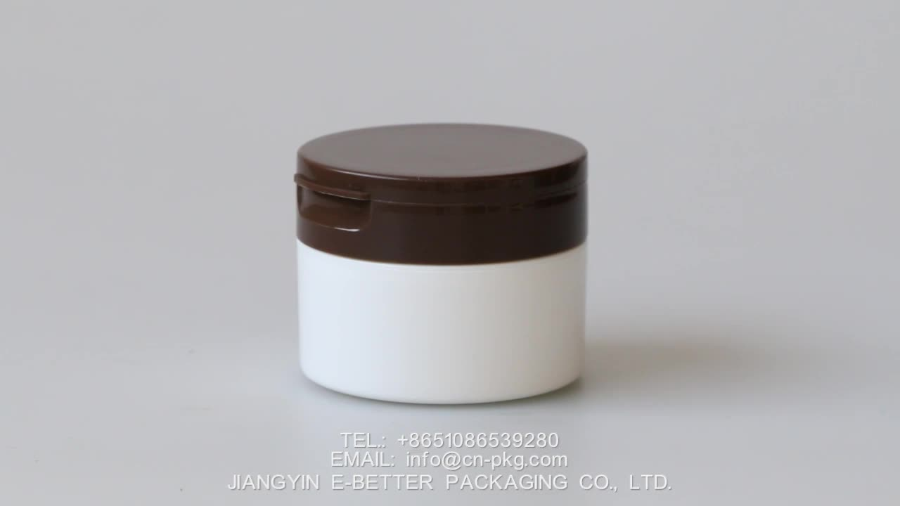 100ml flip top empty plastic cosmetic cream jar for mask