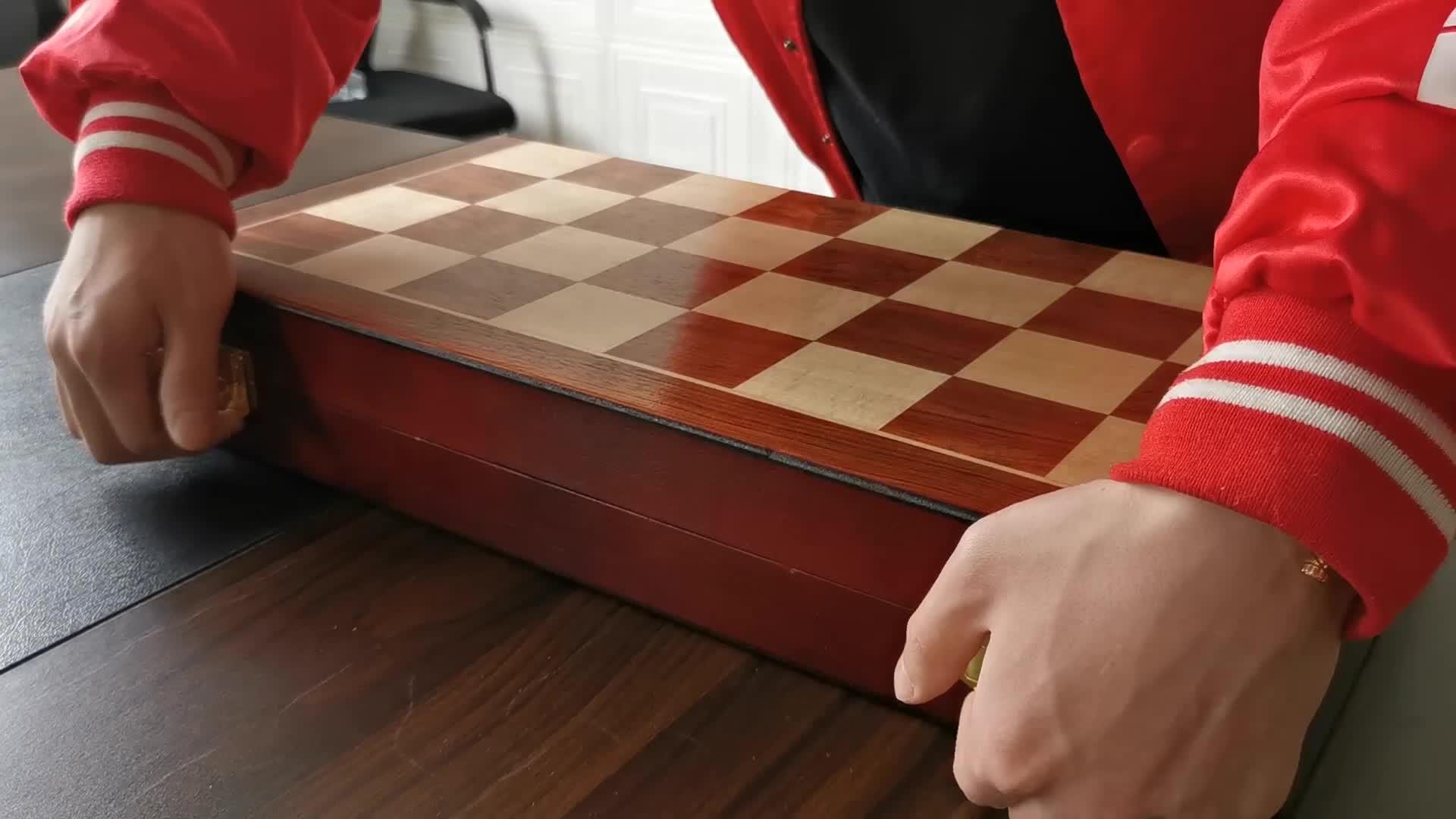 Metal Deluxe Wood Board Storage Chess Set
