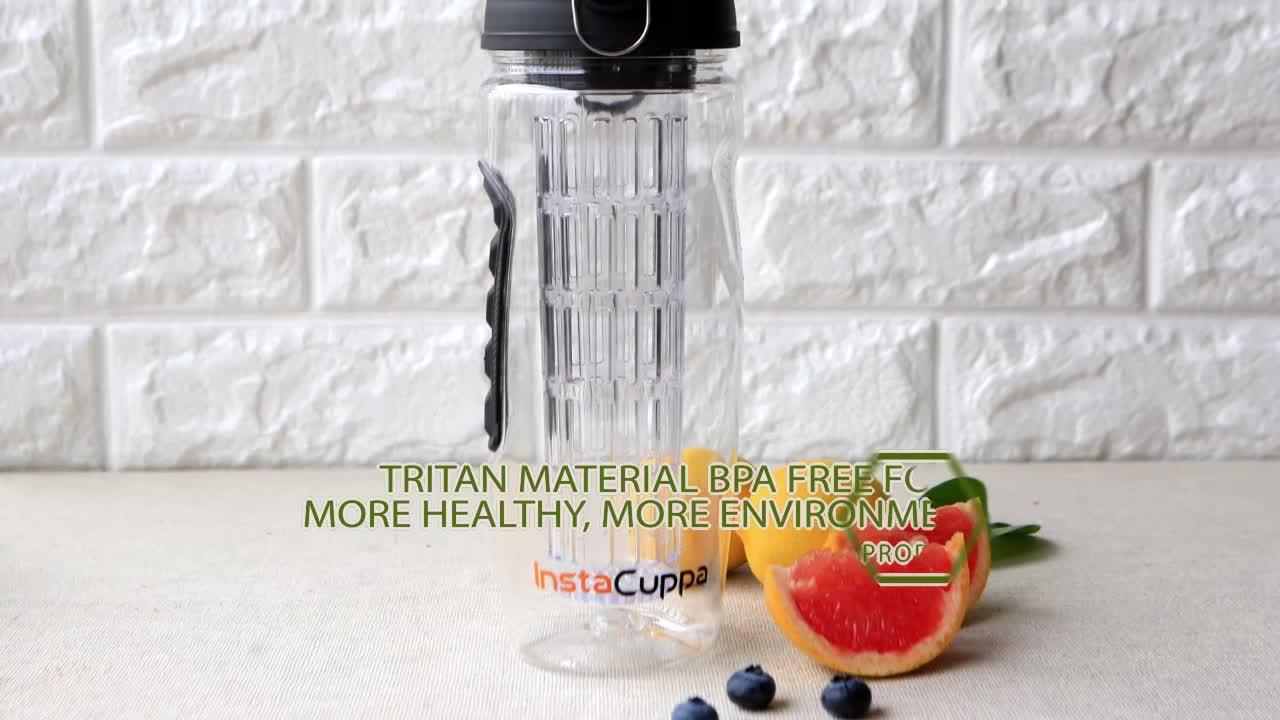 32oz BPA ฟรีกีฬาขวดน้ำพลาสติก Tritan ผลไม้ Infuser ตะกร้า, reusable Leakproof ฝาปิดและแปรงทำความสะอาด