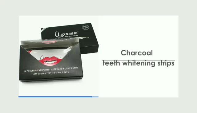 CE, FDA Approved Non-pweoxide 3D Charcoal teeth whitening strips
