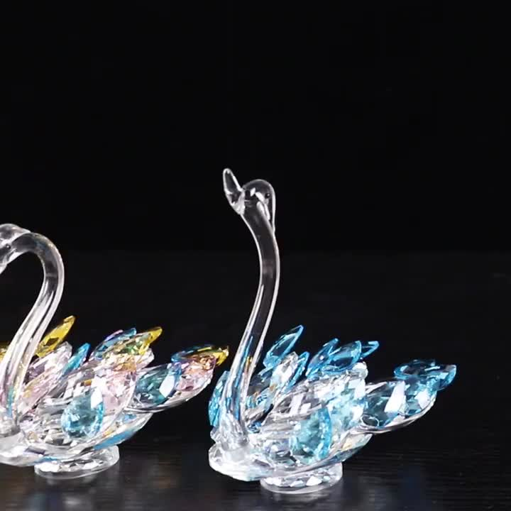 Lovely Glass Crystal Swan Model Clear Cute Crafts For Wedding Gifts