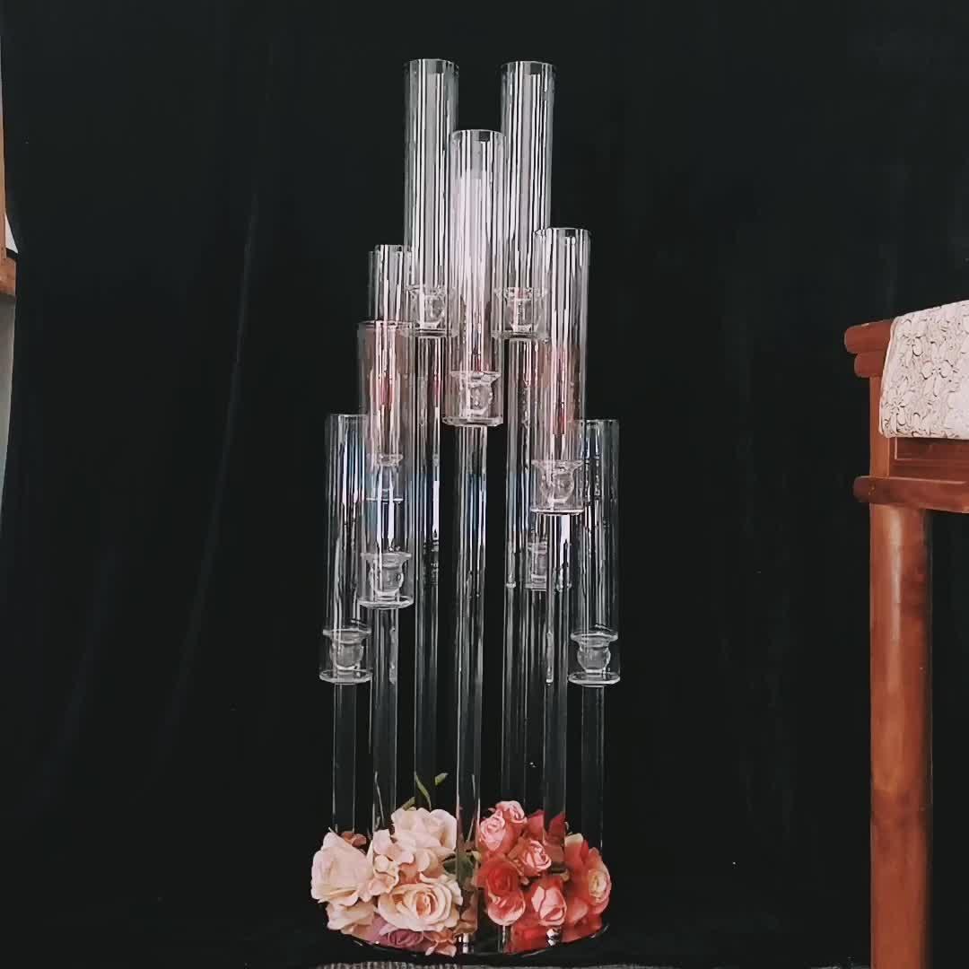 Nova peça central de casamento tubos de vidro altos castiçais de cristal e candelabros de cristal 9 braços para decoração de mesa de casamento