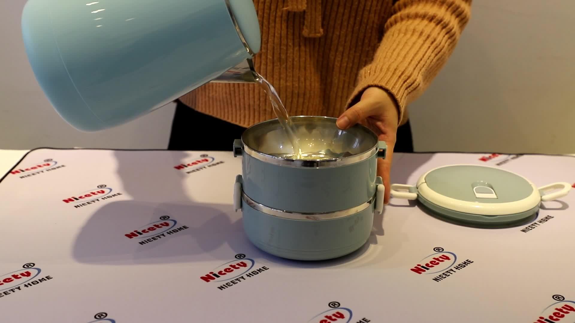 En plastique en acier inoxydable rond étui lunch tiffin avec poignées conteneur alimentaire