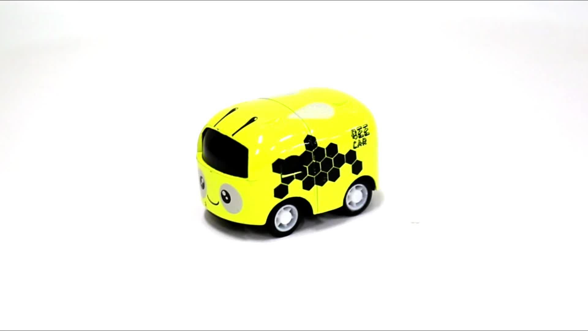 En gros 6 pièces en plastique dessin animé tirer bébé bus jouet voiture modèle 1: 64 moulé sous pression voiture modèle