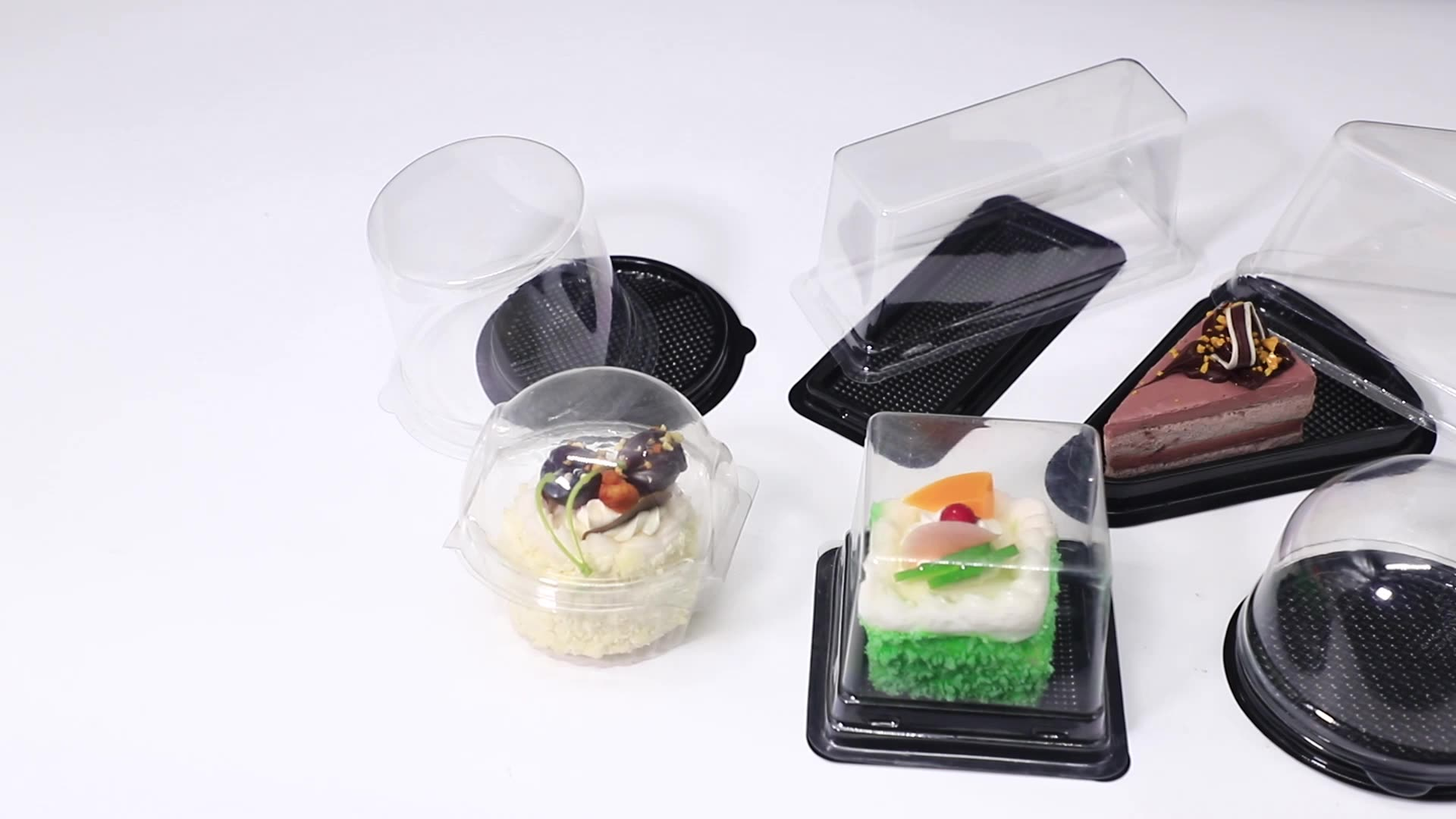 Custom Rectangle PET Disposable Cake Box Packaging Clear Plastic Cake Tray Container With Lid