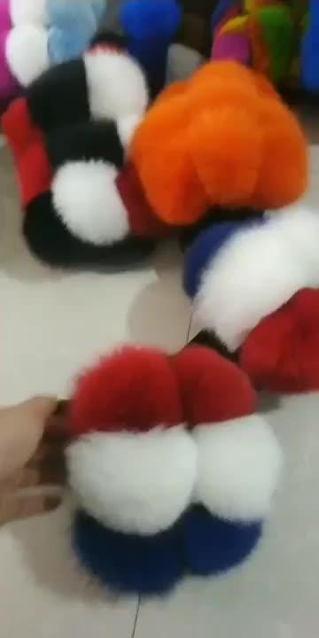 Custom Ne women Fluffy fox fur slippers with fur ball PomPom soft sole household Pom Pom sandals Real rex rabbit fur slides