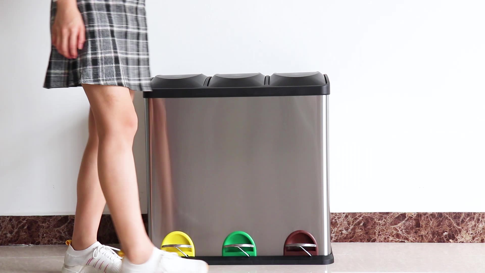 2 and 3 compartment indoor household kitchen pedal recycle trash bin recycle and kitchen recycle bin stainless steel recycle bin