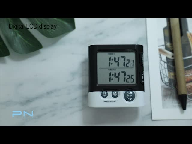 Dual Group Display Small Digital Kitchen Timer Magnetic with Countdown and Memory Function