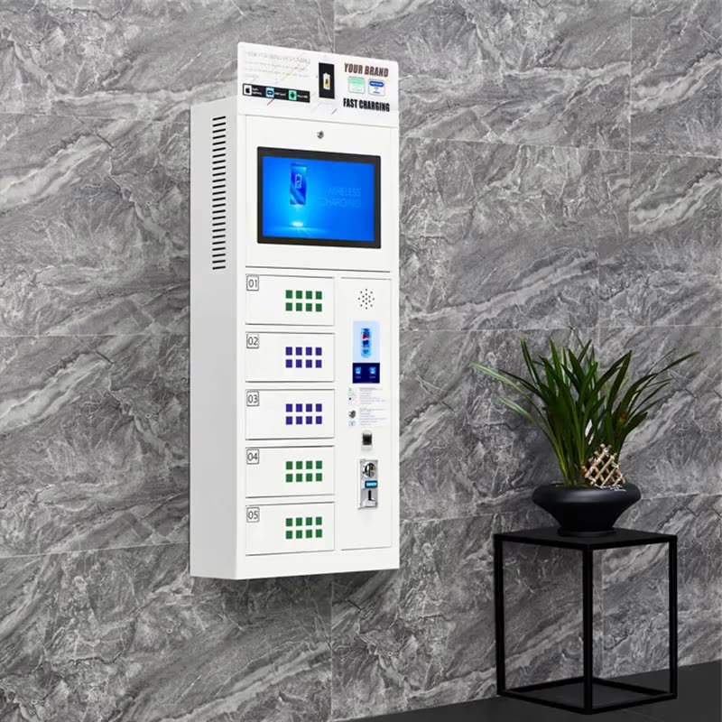 Restaurant and airport mobile coin operated cell phone charging locker