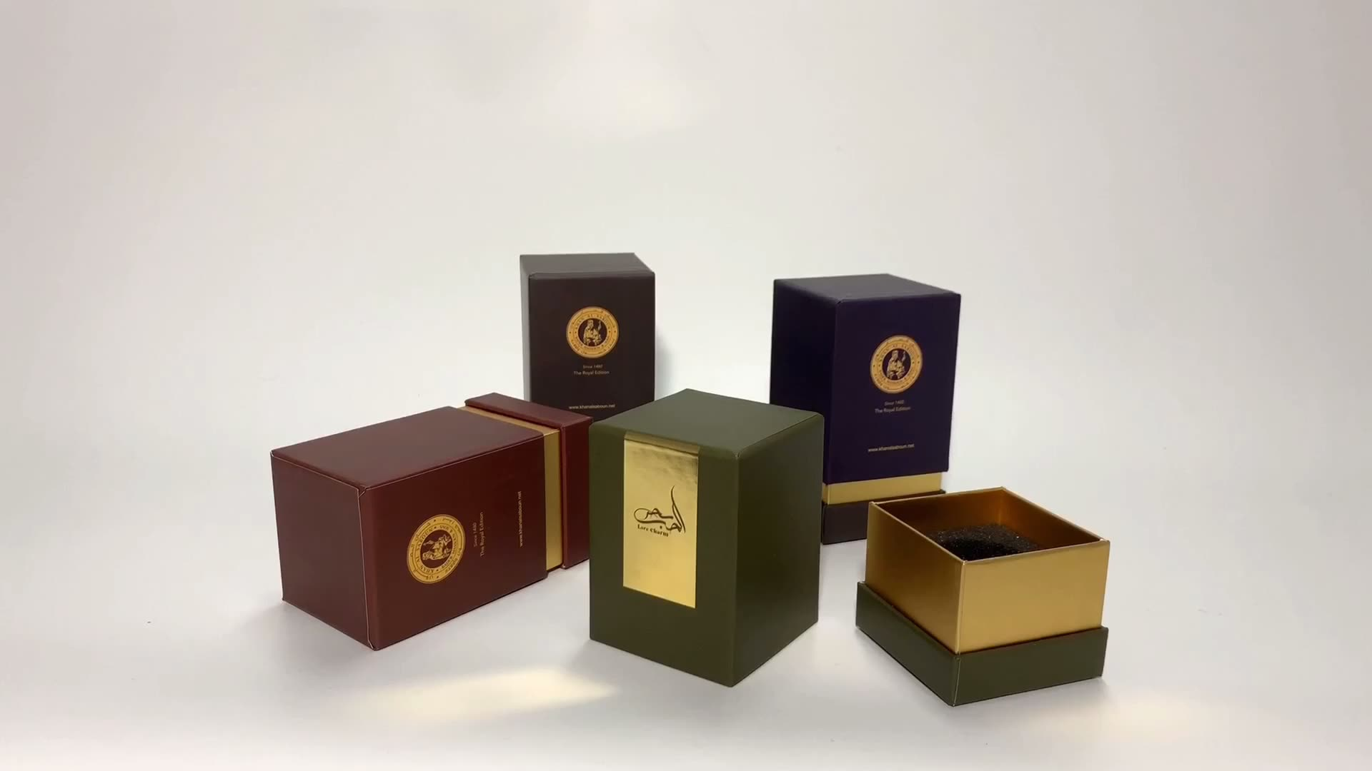luxury black cardboard box package with insert for candles
