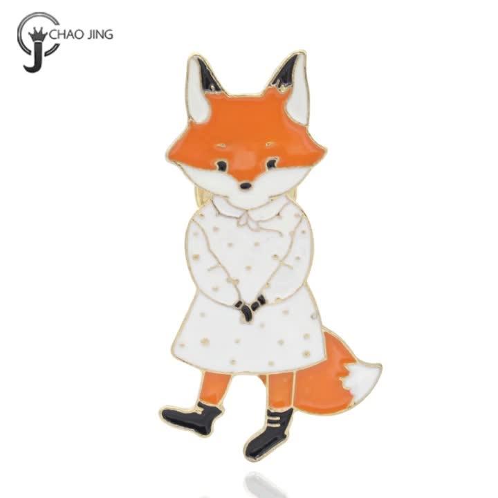 Customized colors 3d fox logo metal label enamel metal badge butterfly pins