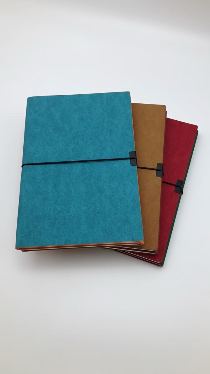 Soft PU cover notebook with elastic band