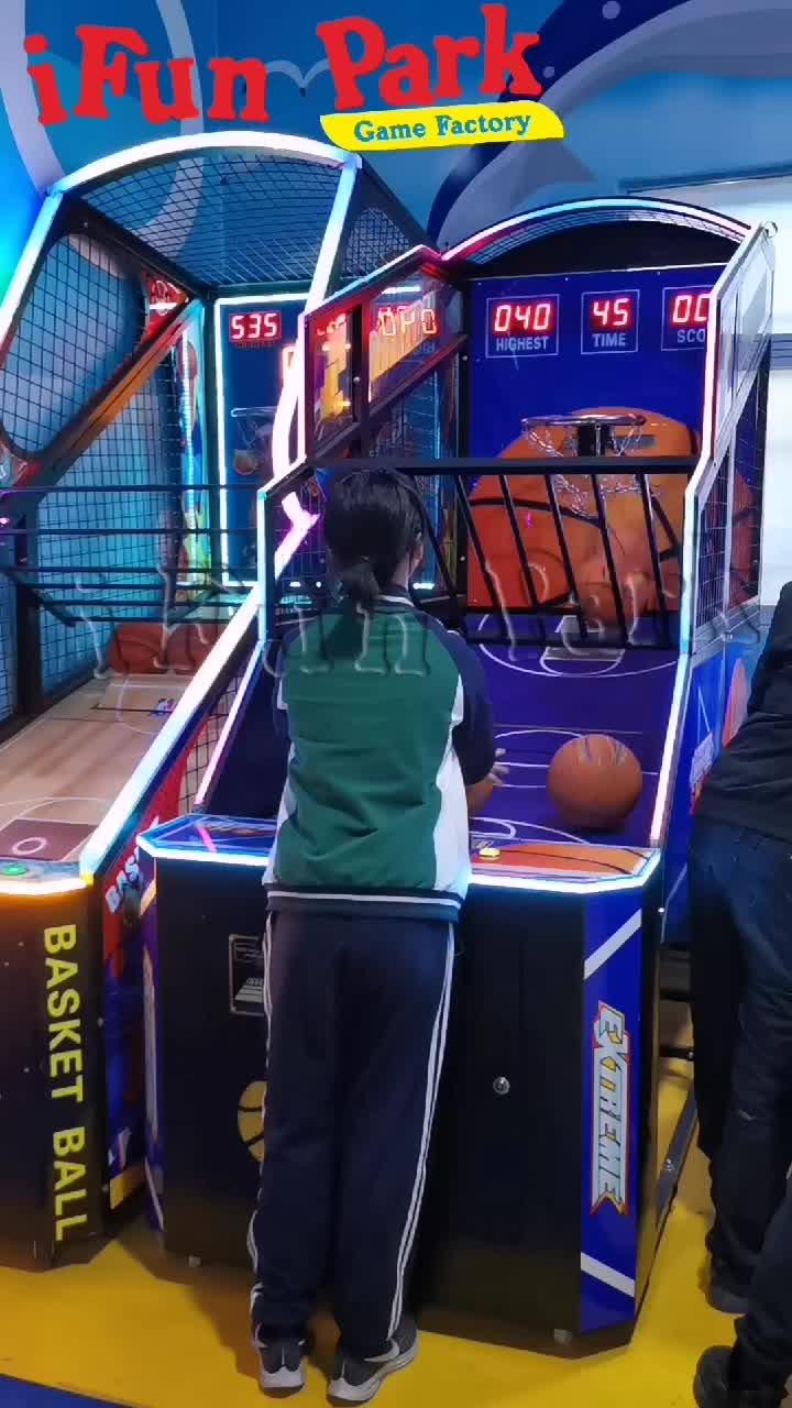 IFun lüks kapalı eğlence Arcade basketbol oyun makinesi, yetişkin spor sepet topu makineleri