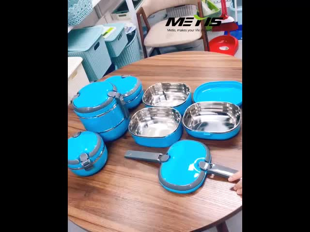 METIS HOT SALE  single layer 304 stainless steel food container bento foldable lunch box