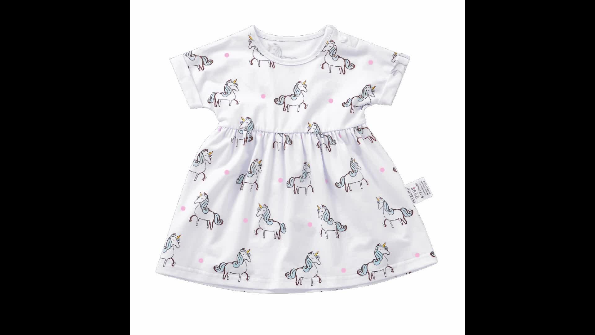 Manica corta stampa completa unicorn dress del cotone delle ragazze capretti si vestono